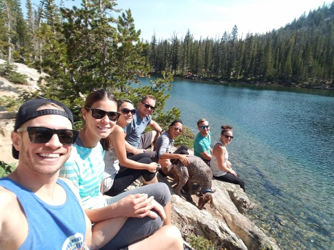 Taking a break on our Sawtooth Lake hike